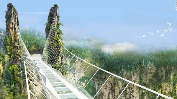 چینی ها در ادامه ساخت ترین ها، طولانی ترین پل شیشه ای را ساختند