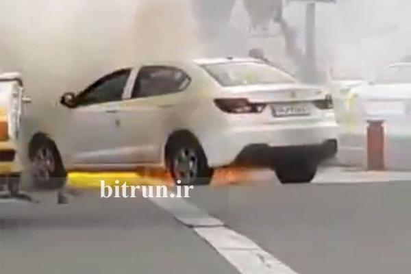 اختصاصی خبرنگاران: خودرو سایپا شاهین آتش گرفت